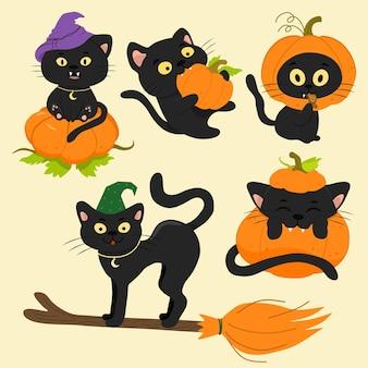 Un conjunto de gatos negros vectoriales con una calabaza y una escoba para la fiesta de halloween.