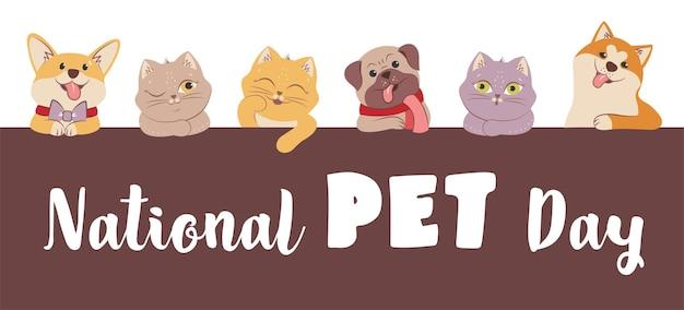 El conjunto de gatos y perros con cita es bueno para el día nacional de las mascotas, los animales de dibujos animados para los diseños de vacaciones, esto es pug akita corgi y colorido gatito