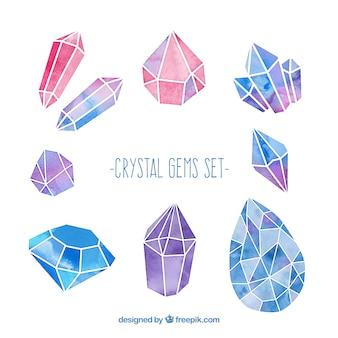 Conjunto de gemas de crital de acuarela