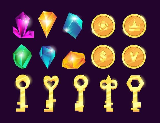 Conjunto de gemas y monedas.