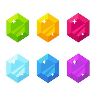 Conjunto de gemas planas de dibujos animados