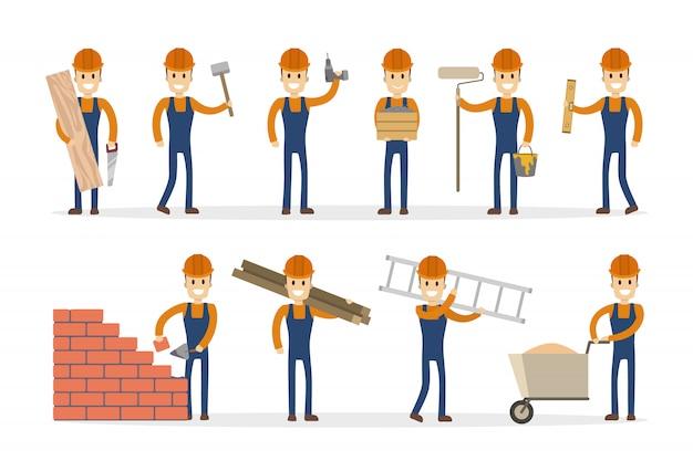 Conjunto de generador de hombre trabajador de la construcción masculina con poses.