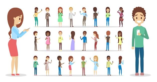 Conjunto de gente linda que usa teléfonos móviles. los adolescentes se comunican con sus amigos a través de las redes sociales utilizando teléfonos inteligentes. adicción a internet. ilustración de vector plano aislado