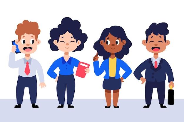 Conjunto de gente de negocios de dibujos animados