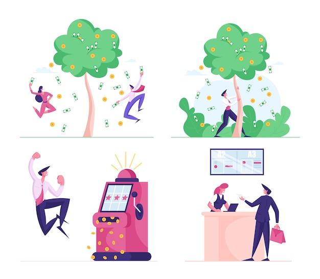 Conjunto de gente de negocios en la ilustración de varias escenas