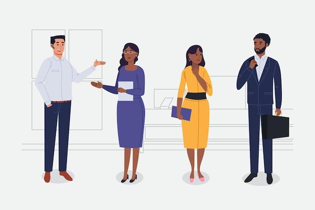 Conjunto de gente de negocios plana