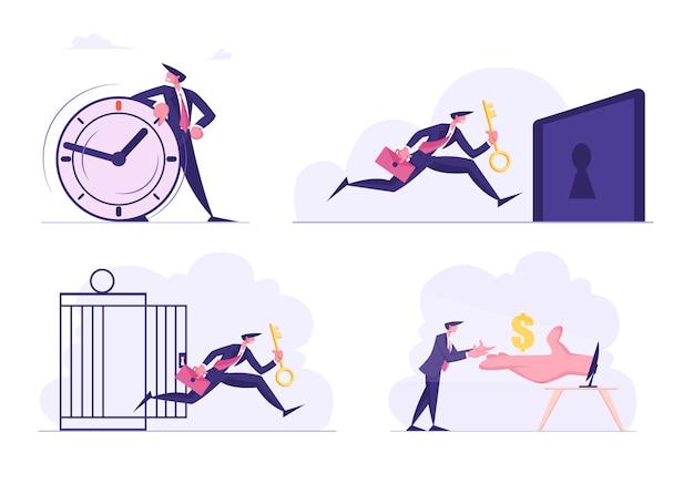 Conjunto de gente de negocios con reloj enorme