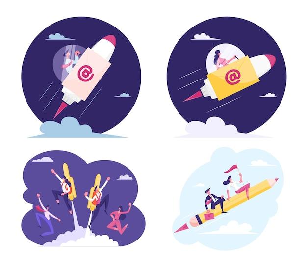 Conjunto de gente de negocios volando en cohete