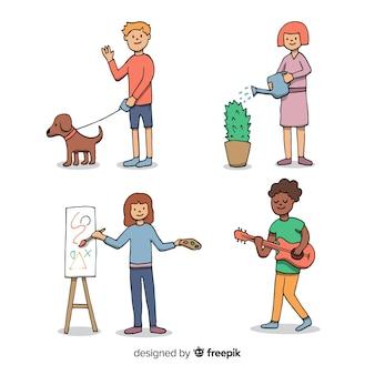 Conjunto de gente realizando actividades dibujado a mano