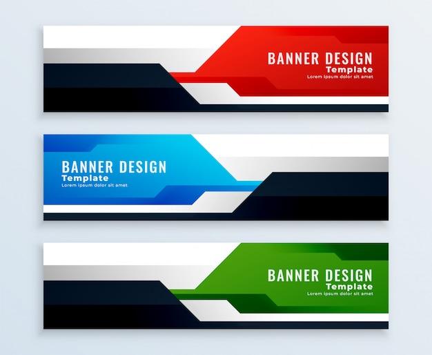 Conjunto geométrico de diseños de pancartas en multicolores