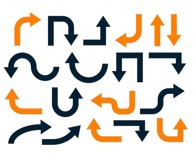 Conjunto geométrico de flechas naranjas y negras