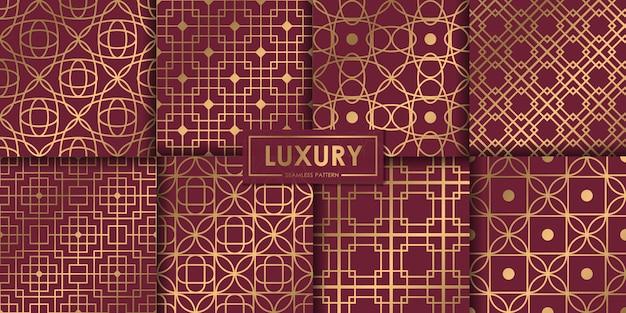 Conjunto geométrico de lujo de patrones sin fisuras, fondo abstracto, papel pintado decorativo.