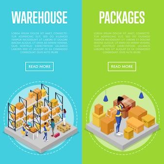 Conjunto de gestión de almacén y embalaje de entrega