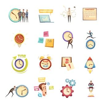 Conjunto de gestión de tiempo de iconos de dibujos animados retro con hombre de prisa planificación productividad calendario de inicio