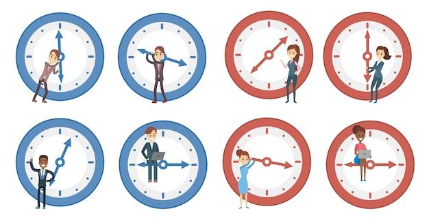 Conjunto de gestión del tiempo. personas con despertador.