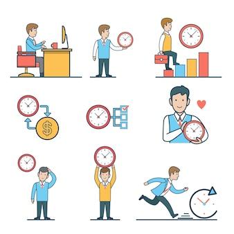 Conjunto de gestión del tiempo de personas de negocios plano lineal. trabajar en el lugar de trabajo, medir la hoja de tiempo, el tiempo es dinero, la prisa en los plazos