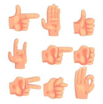 Conjunto de gestos conceptuales populares de la mano de iconos realistas aislados con señalización humana de la palma