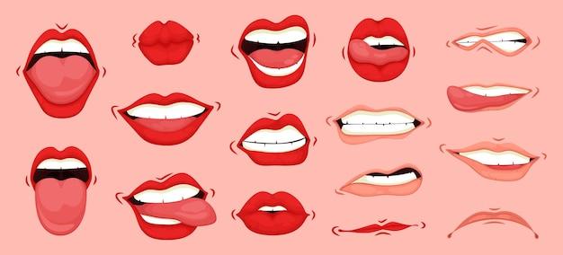 Conjunto de gestos faciales de expresiones de boca linda de dibujos animados