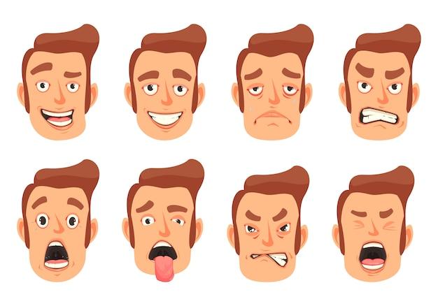 Conjunto de gestos faciales de hombres
