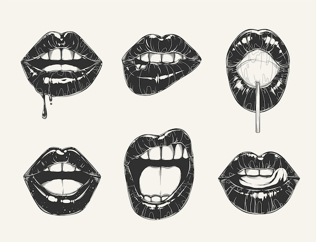 Conjunto de gestos de labios de mujer.