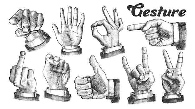 Conjunto de gestos de mano caucásico masculino múltiple.