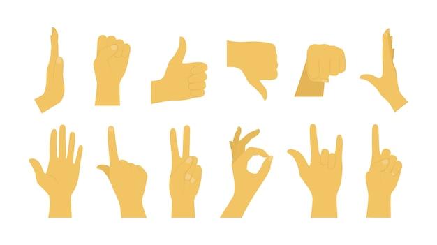Conjunto de gestos con las manos de dibujos animados