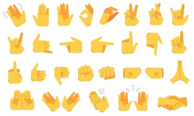Conjunto de gestos con las manos emoji