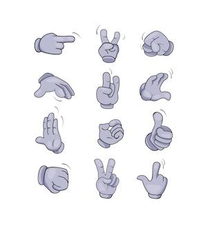 Conjunto de gestos de manos de personaje de dibujos animados