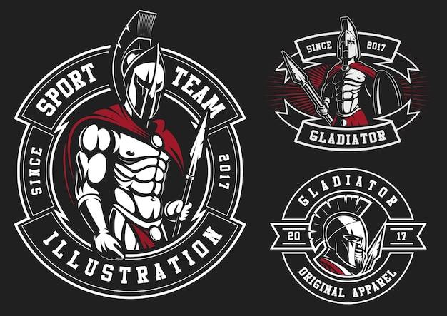 Conjunto de gladiadores sobre fondo negro. todos los elementos están en la capa separada.