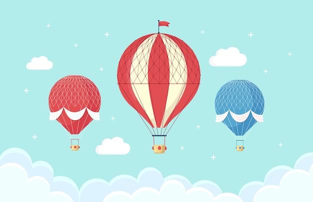 Conjunto de globo de aire caliente retro vintage con canasta en el cielo