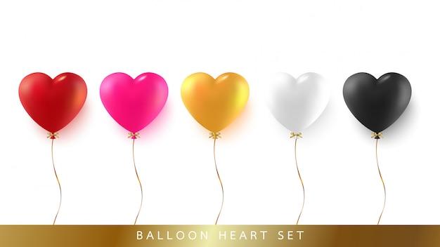 Conjunto de globo de corazón con cinta y lazo