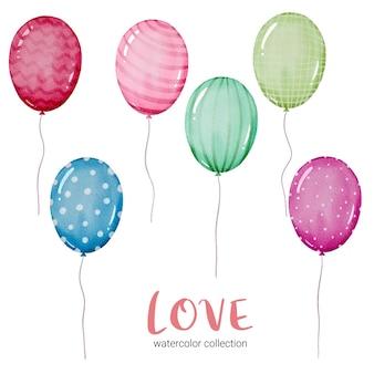 Conjunto de globo, elemento de concepto de san valentín acuarela aislado encantadores corazones rojo-rosa románticos para decoración, ilustración.