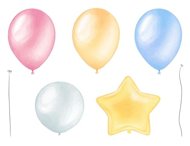 Conjunto de globos de acuarela