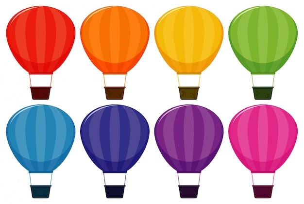 Conjunto de globos aerostáticos en ocho colores.