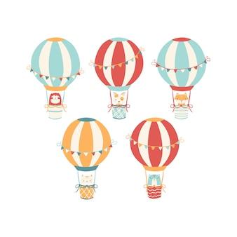 Conjunto de globos aerostáticos vintage con animales. lindas caras en el estilo escandinavo. ilustración simple dibujada a mano.