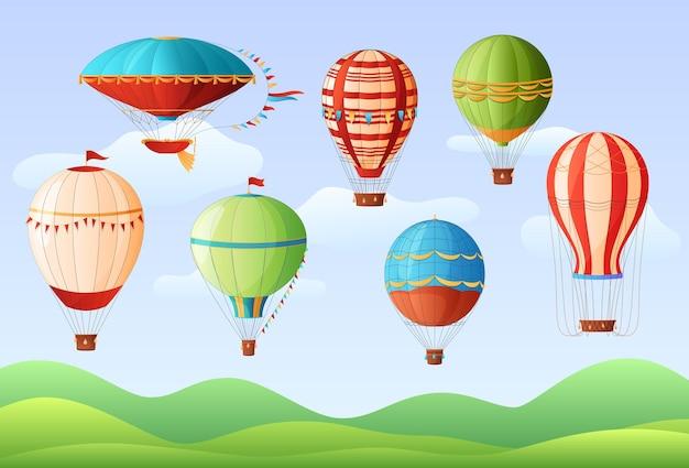 Conjunto de globos de aire caliente de diferentes colores y formas, aeronáutica de globos de aire caliente vintage, ilustración