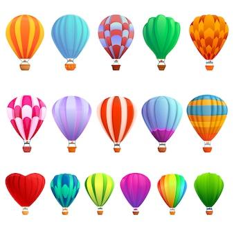 Conjunto de globos de aire, estilo de dibujos animados