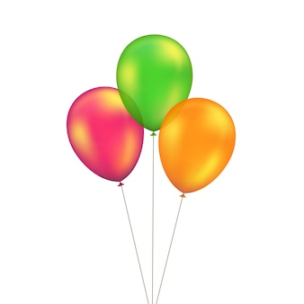 Conjunto de globos amarillo rojo naranja verde aislado sobre fondo blanco