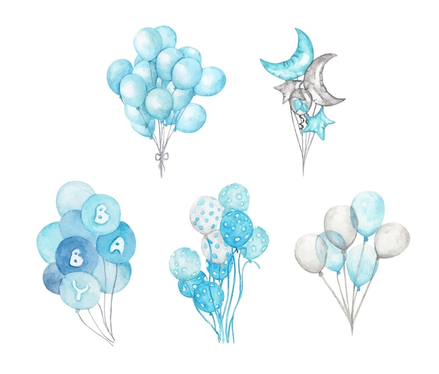 Conjunto de globos azules. ilustración de acuarela. paquete pintado a mano de globos azules. decoración de saludo.