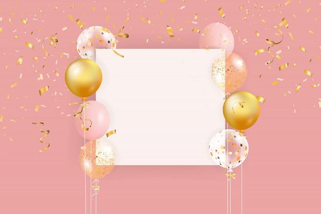 Conjunto de globos de colores con confeti y espacio vacío para el texto. fondo realista para cumpleaños, aniversario, boda, pancartas de felicitación navideña.