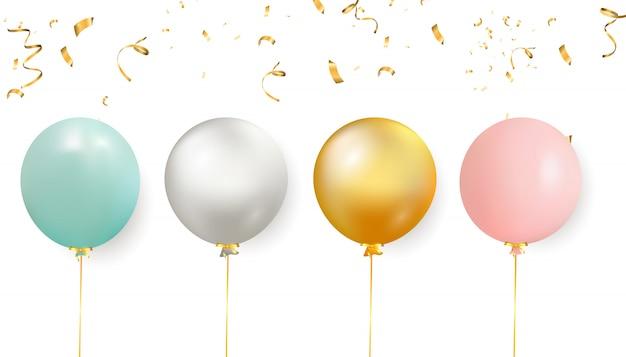 Conjunto de globos de colores con confeti. fondo realista para cumpleaños, aniversario, boda, pancartas de felicitación navideña.