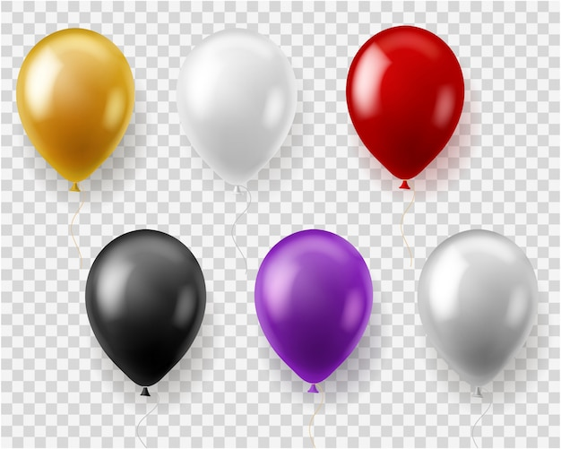 Conjunto de globos de colores. globo redondo volar juguetes regalo celebración fiesta de cumpleaños boda carnaval, realista
