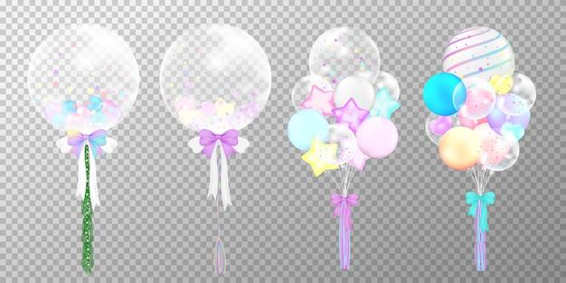 Conjunto de globos de colores realistas sobre fondo transparente.