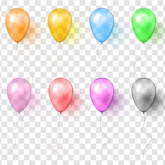Conjunto de globos de colores transparentes vector realista.