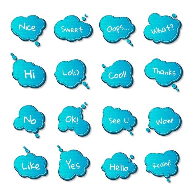Conjunto de globos de diálogo y citas, cómics burbujas de pensamiento azul.