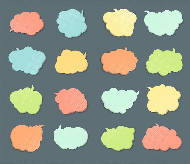 Conjunto de globos de diálogo, cómic pensamiento burbuja
