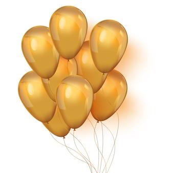 Conjunto de globos dorados brillantes para su diseño.