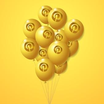 Conjunto de globos dorados con logo de pinterest