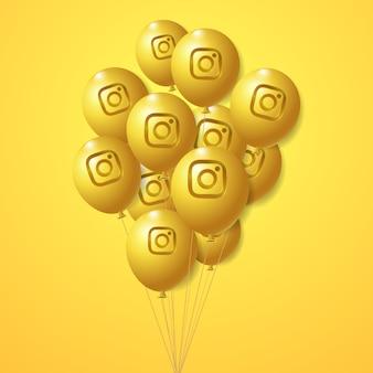 Conjunto de globos dorados con el logotipo de instagram