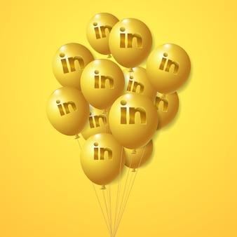 Conjunto de globos dorados del logotipo de linkedin